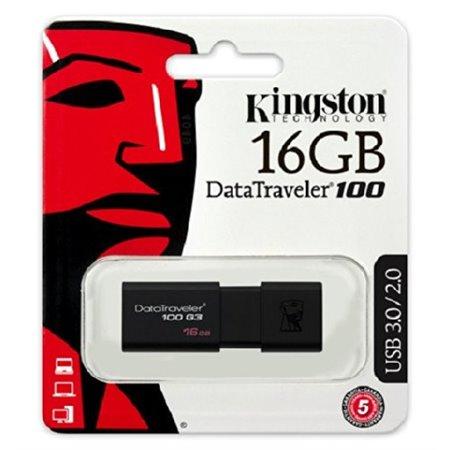 Pendrive KINGSTON USB 3.0 16Gb Negro (DT100G3/16GB)