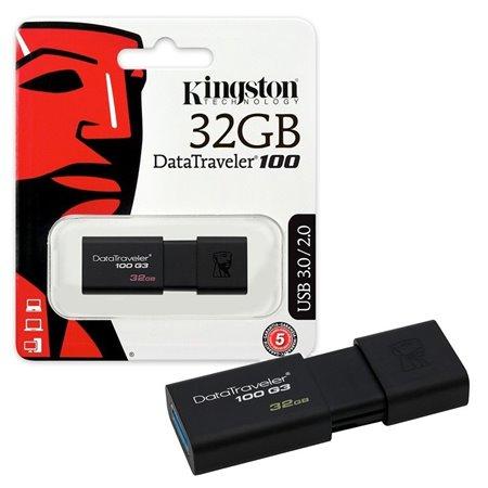 Pendrive KINGSTON USB 3.0 32Gb Negro (DT100G3/32GB)