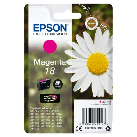 Tinta Epson T1803 Magenta 180p XP102/202/205/212/215/302/305/312/315/402/405/412/415